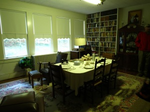 The dining table set so everyone could enjoy the wildlife visible through the windows.