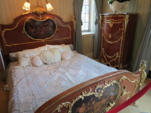 Mabel's bedroom and bathroom– real tatted lace on her bed. It looked out on her rose garden