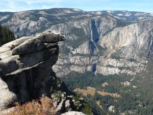 Glacier Point, where you will see Overhanging Rock, with Yosemite Falls to the right (no water, just black streaks to the right of the that rock where the water may fall in the Spring