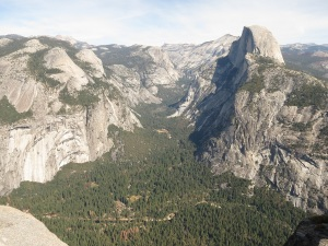 Also the valley, with Half Dome on the right, and North Dome (foreground) and Basket Dome (behind North Dome) facing Half Dome on the other side of the valley.