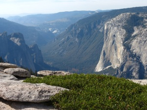 El Capitan on right, with valley below. Lots of haze in the air.