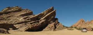 Vasquez Rocks from other side. If you click to enlarge you will see people on the rocks.