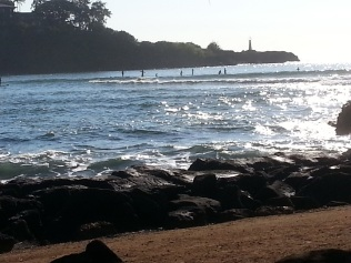 Surfers at Kalapaki Beach